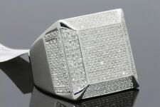 1.50 CARAT MENS WHITE GOLD FINISH GENUINE DIAMOND ENGAGEMENT WEDDING PINKY RING