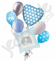 7 pc Blue & Grey Elephant Baby Boy Balloon Bouquet It's a Shower Welcome Home