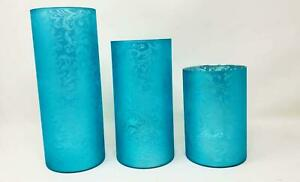 Set of 3 Frosted Scroll Design Hurricanes, Icy Blue by Valerie Parr Hill