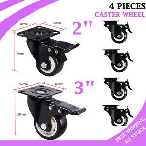 "4X Polyurethane Castor Wheels,2''/3"" Swivel Castors with brake,Heavy Duty Caster"