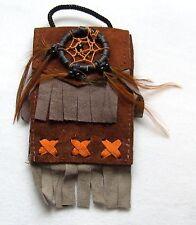 Brustbeutel braun 239 Halskette Dreamcatcher schwarz Leder Traumfänger necklace