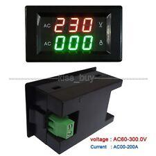 Digital AC Dual Display 300V 200A Volt Amp LED Panel Meter + Current Transformer