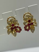 18ct 18k Yellow Gold Natural Red Ruby And Diamond Earrings Lever Back. Brand Nee