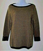 TALBOTS Pure Merino Wool Brown Houndstooth Boat Neck Sweater 3/4 Sleeve Medium