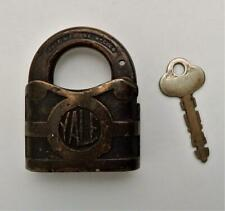 Antique Bronze Yale & Towne Working Padlock & Key