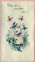VINTAGE GIRL CAT PINK BOW BLUE BUTTERFLY HAPPY BIRTHDAY PARCHMENT GREETING CARD