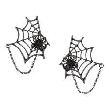 Large Magnetic Black SPIDER w/Cutout WEB Dangle Drop Earrings Halloween NWOT
