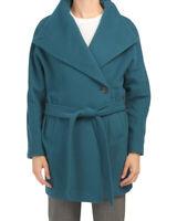 Roberto Cavalli Women's Coat Size 46 IT Blue Petrol Wool Blend Funnel Belted