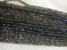 """5 Strand Labradorite  3.5-4MM MICRO Faceted Rondell Loose Beads 13"""" Inches AAA+"""