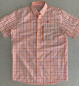 Under Armour Offshore Fish Hunter Plaid Shirt UA Fishing Mens S Orange 1244881