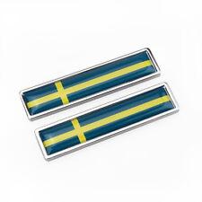 2pcs SWEDEN SE Flag Chrome Metal Badge Decal Emblem Sticker For Volvo SAAB