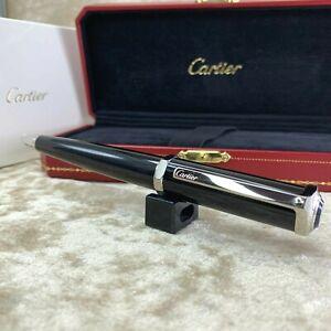 Authentic Cartier Santos de Dumont Ballpoint Pen Black Composite w/ Case