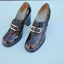 Paloma Made in Italy Block Clog Heels Brown Leather Animal Print Women's Size 8