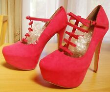 """Pink Suede Straps Size 8 M Shoes Harajuku CD TV Sissy 6"""" heels Mary Jane Lolita"""