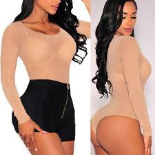 Women's Bodysuit Sheer Tops Long Sleeve Blouse Shirt Party Clubwear Bodysuit S-L