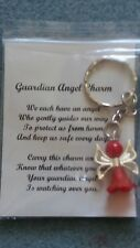 HANDCRAFTED GUARDIAN ANGEL CHARMS KEYRING BAGCHARM TEACHER GIFT RED #1