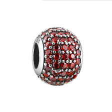 Red CZ Charm Bead, 925 Sterling Silver, fits European Style Bracelets