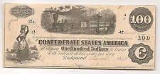 1862 $100 Confederate States of America Richmond