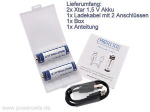 2x AA 1,5V 2925mWh / 1950mAh Lithium Ionen Akku Wiederaufladbar mit Mirco USB