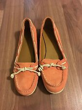 Women's Sebago Felucca Lace Loafer Size 8 Coral Leather EUC