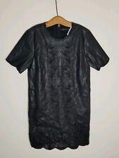 Zara Embroidered Black Leather Effect Dress Cut Work Ref 2969/249 Sz S