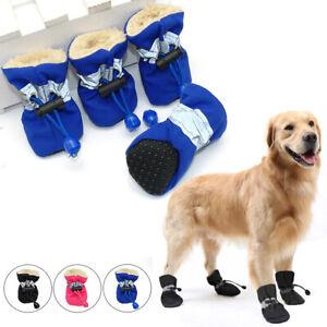 4Pcs Fall Winter Pet Shoes Waterproof Anti-slip Rain Boots Snow Booties Dog Sock