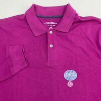 NWT Saddlebred Polo Shirt Men's Large Long Sleeve Purple Sueded Softness Cotton