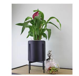 Black Ceramic Indoor Outdoor Patio Round Planter Display Pot Plant + Metal Stand