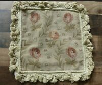 Pair 2 - 14X14 French Floral Needlepoint Handmade Tassel Cushion Pillow Case New