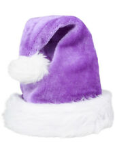 f8e9db203da29 Christmas Purple Plush Faux Fur Trim Santa Hat Costume Accessory
