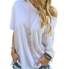 Women Summer Shirt Off Shoulder Short Sleeve Casual Blouse Tops T-Shirt XL