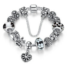 new DIY 925 Silver Fashion DIY European Beads LADY women bracelet pretty