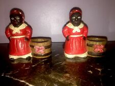 Pair Cast Iron Aunt Jemima Tooth Pick Holders Black Americana Candle Holder Set