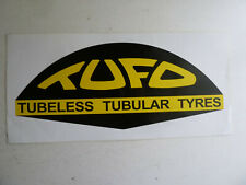 "Large Tufo tires shop sticker, 13"" vinyl decal, white"