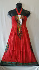 Women elastic Long Maxi Dress African Dashiki print 100% Rayon Red Free Size