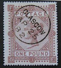 GB QV 1882 £1, SG 136, X-Fine Postmark from Glascow,  COPY / REPLICA