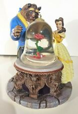 Disney Store Beauty & The Beast Musical Snow Globe Rose Enchanted Retired 1991