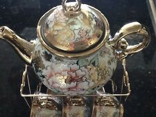 13pc Chinese Tea Sets Tea Pot & 6 Cups & Saucers with Rack Coffee cup Set Mult