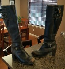 """AWESOME 19"""" Tall Worn Women's Distressed Black Leather Frye Kelly Zip Boots 9.5"""