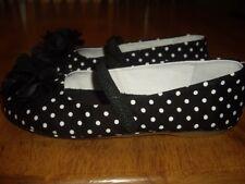 New Girls Size 12 Nina Kids Flats Shoes Black White Polka Dot Slip On
