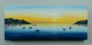 """Original oil painting by BEN PAYNE Art 12""""×5"""" sailing boats coast collectable"""