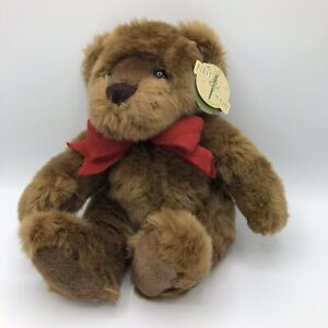"""First & Main Brown Teddy Bear Ted Jr. 14"""" Red Bow Stuffed Animal Toy Soft Silky"""