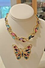 Vintage Signed Trifari TM Rhinestone Butterfly Brooch Pin and Choker Necklace