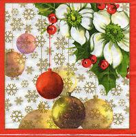 4 Motivservietten Servietten Napkins Tovaglioli  Weihnachtskugeln (1008)
