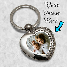 Personalised Heart Metal Keyring Key Ring Print Your Photo With FREE GIFT BOX