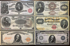 Reproduction Set 1880-1918 $1000 Bills 6 Notes USA Banknotes Currency Read Below