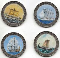 España Historia de la Navegación 1 1/2 Euros níquel 4 valores y álbum ESMALTADAS