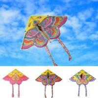 Foldable Nylon Rainbow Butterfly Kite Outdoor Children's Kite Stunt 90*55cm YI2X