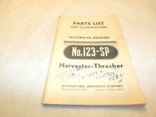 MC CORMICK-DEERING NO.123-SP HARVESTER-THRESHER PARTS LIST
