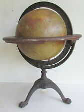 TERRESTRIAL GLOBE 8 inch by C.S. HAMMONS Co. NEW YORK ANTIQUE 1913-1917 WWI ERA